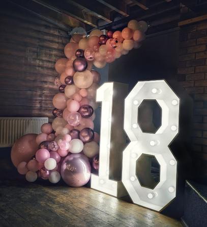 18th light up balloon garland pinks rose