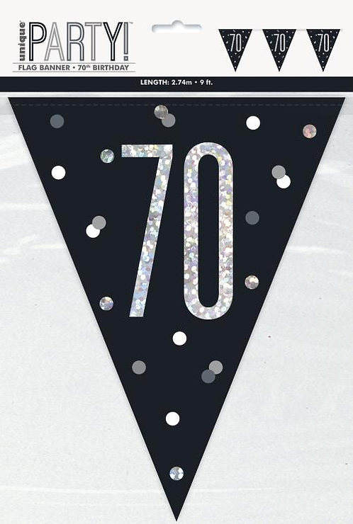 Black & Silver Holographic 70th Birthday Bunting 2.74m