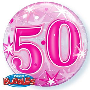 Pink/Clear 50th Birthday Bubble Balloon Helium filled 22""