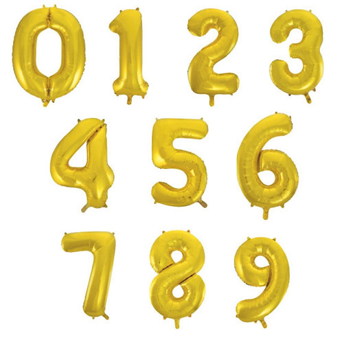 "Gold Number Balloon Giant 34"" Helium Foil Balloon 0-9 Inflated"