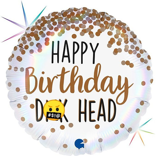 "Swearing Balloon Rude Birthday Foil Balloon ""Happy Birthday D**k Head"""
