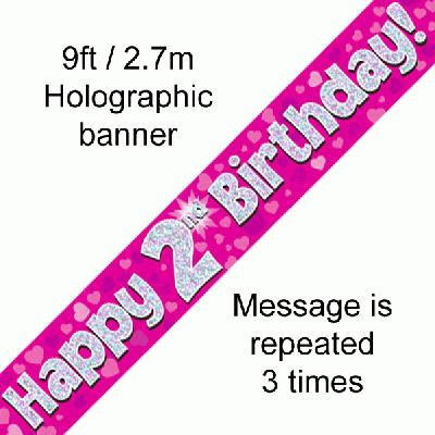 Pink Holographic 'Happy 2nd Birthday' Banner 9ft/2.7m