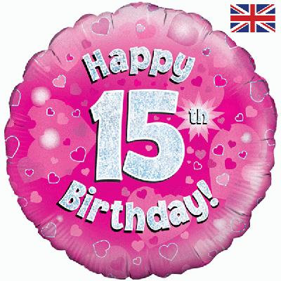 "Pink Happy 15th Birthday 18"" Foil Helium Balloon"