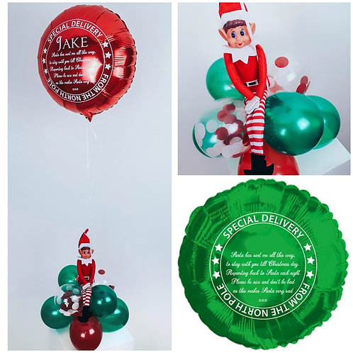Personalised elf arrival green foil balloon display with balloon base