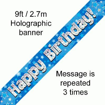 Blue Holographic 'Happy Birthday' Banner 9ft/2.7m