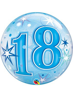 Blue/Clear 18th Birthday Bubble Balloon Helium filled 22""