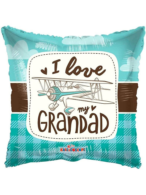 "'I Love My Grandad' Retro Plane Foil Helium Balloon - 18"""