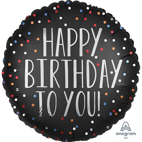 "Happy Birthday to You 18"" Helium Balloon Black,Silver &Multi-Colour Spots"