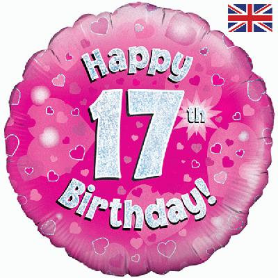 "Pink Happy 17th Birthday 18"" Foil Helium Balloon"