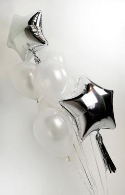 white and silver tassel star balloons la