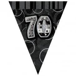 Black & Silver Glitz Holographic 70 Bunting 2.74m