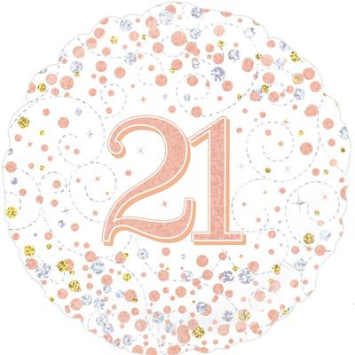 "White & Rose Gold 21st Birthday 18"" Foil Helium Balloon"