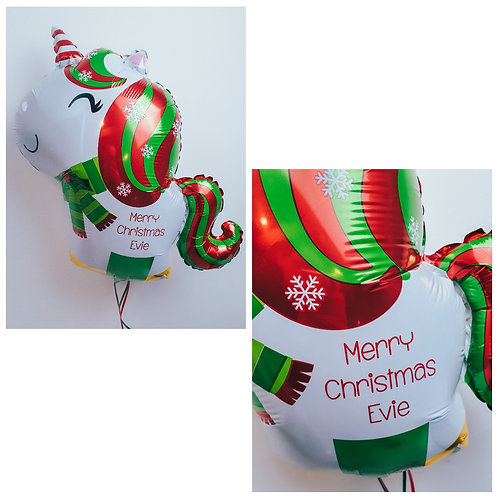 Christmas Unicorn foil balloon personalised with your Christmas message