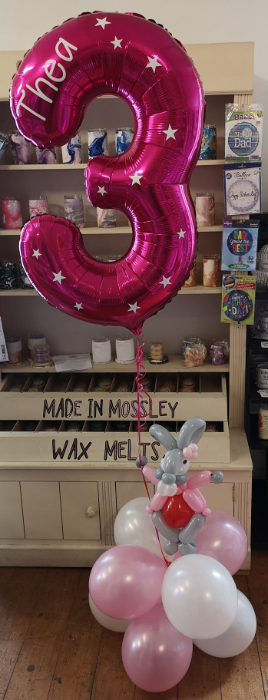 lily bobtail personalised balloon number