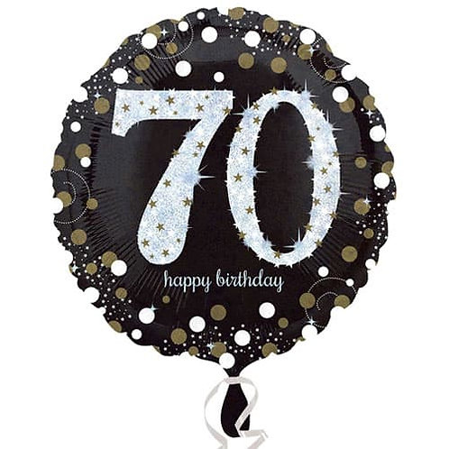 "Black Silver Gold Sparkling 70th Happy Birthday 18"" Foil Helium Balloon"