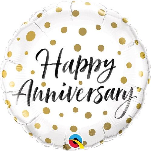 "Happy Anniversary White & gold spot 18"" Foil Helium Balloon"