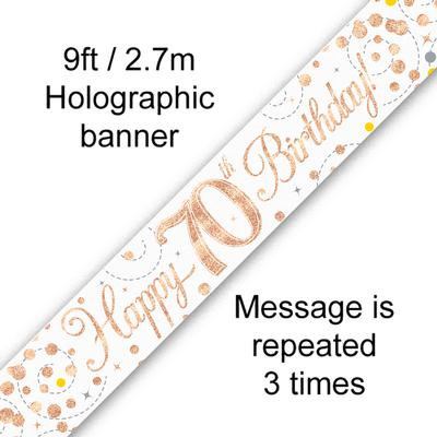 Rose Gold & White Holographic 'Happy 70th Birthday' Banner 9ft/2.7m