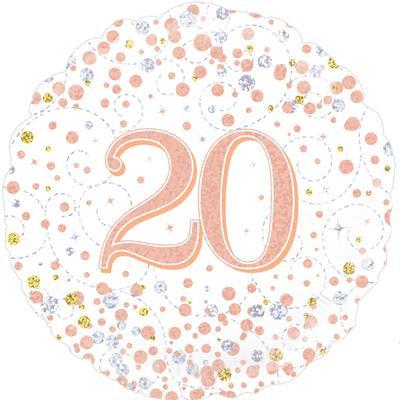 "White & Rose Gold 20th Birthday 18"" Foil Helium Balloon"