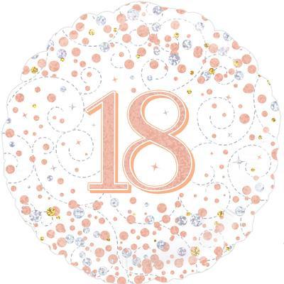 "White & Rose Gold 18th Birthday 18"" Foil Helium Balloon"