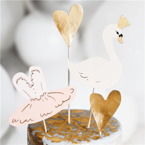 Swan and ballerina cake toppers. 4 pack.