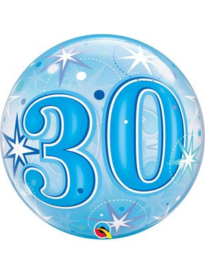 Blue/Clear 30th Birthday Bubble Balloon Helium filled 22""