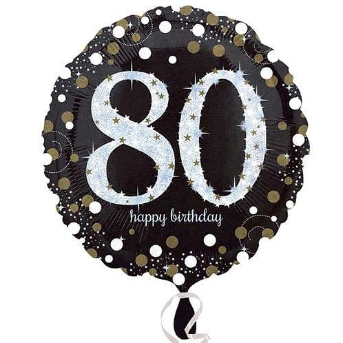 "Black Silver Gold Sparkling 80th Happy Birthday 18"" Foil Helium Balloon"