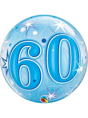 """Blue/Clear 60th Birthday Bubble Balloon Helium filled 22"""""""