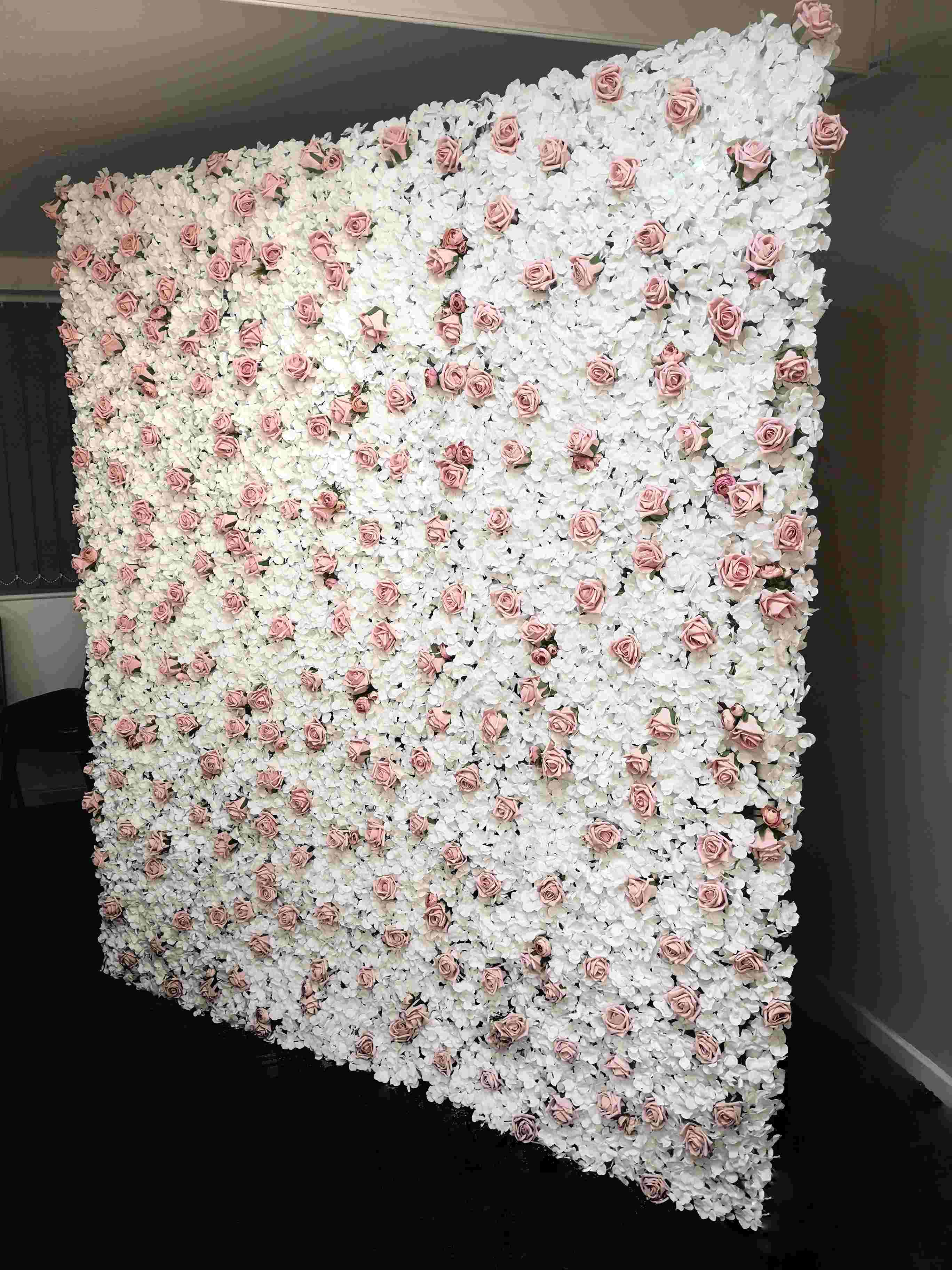 white and vintage pink small flowr wall