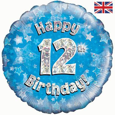 "Blue Happy 12th Birthday 18"" Foil Helium Balloon"