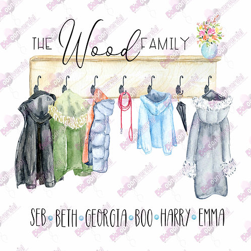 Coats on Hooks Family Personalised Digital Image - D.I.Y Print at Home Gift