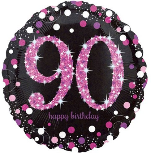 "Black & Hot Pink Sparkling 90th Happy Birthday 18"" Foil Helium Balloon"