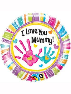 "I Love Mummy Handprints foil balloon 18"" helium filled"