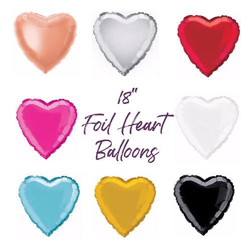 """Plain foil heart Balloon 18"""" Choose your Colour Helium Filled"""