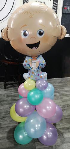 baby balloon column pastels christening