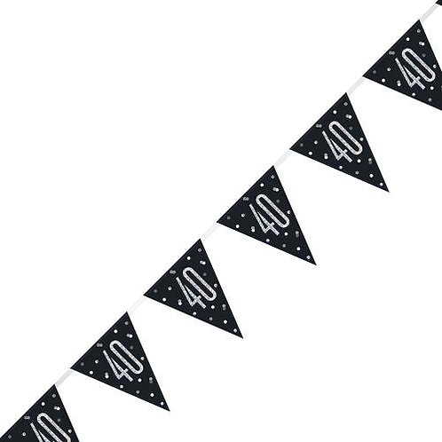Black & Silver Holographic 40th Birthday Bunting 2.74m