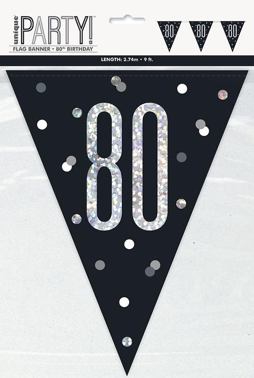 Black & Silver Holographic 80th Birthday Bunting 2.74m