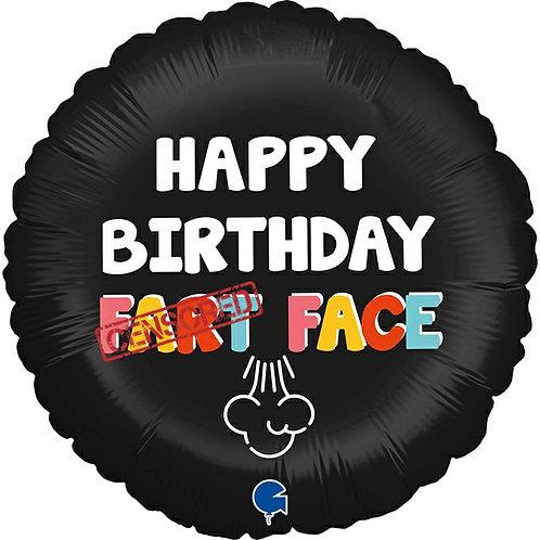 """Swearing Balloon Rude Birthday Foil Balloon """"Happy Birthday F*rt Face"""""""