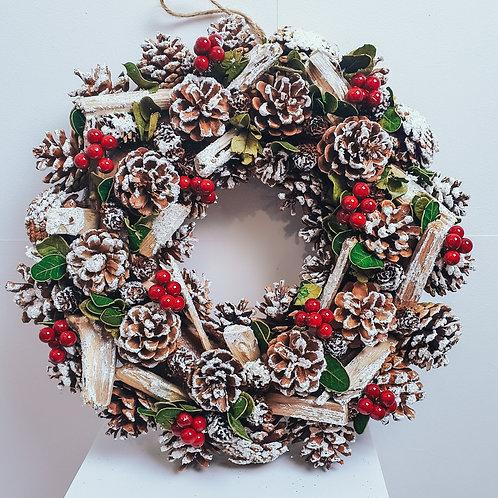 Boxed Wreath - Snow Berry Nice 38cm