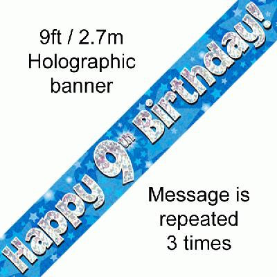 Blue Holographic 'Happy 9th Birthday' Banner 9ft/2.7m
