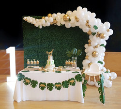 large boxwood flower wall backdrop with