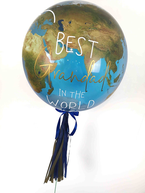 Personalised Best in the World Globe Bubble Balloon with tassels any relation