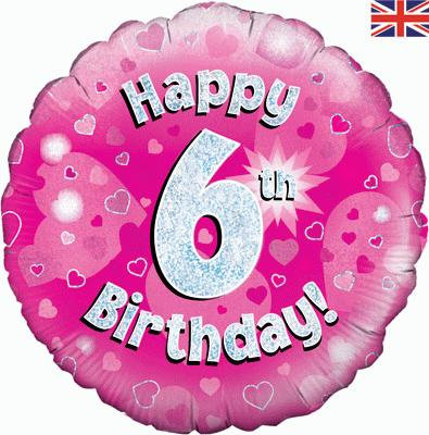 "Pink Happy 6th Birthday 18"" Foil Helium Balloon"