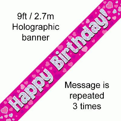 Pink Holographic 'Happy Birthday' Banner 9ft/2.7m