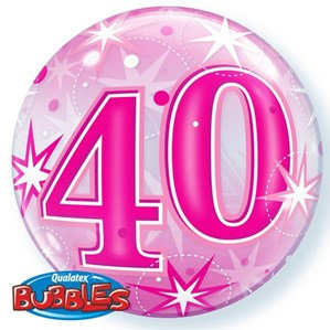 Pink/Clear 40th Birthday Bubble Balloon Helium filled 22""