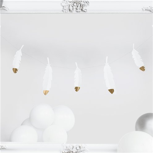 Feather shaped feather garland with gold foil dip. 1.6m