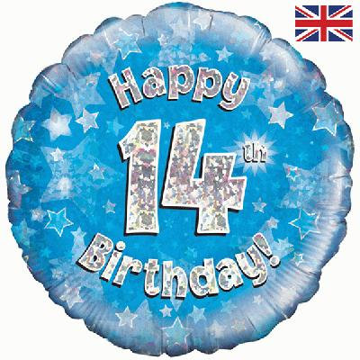 "Blue Happy 14th Birthday 18"" Foil Helium Balloon"