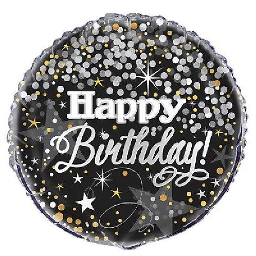 "Happy Birthday black, silver & gold 18"" Foil Helium Balloon"