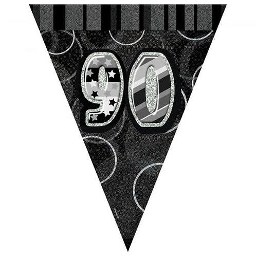 Black & Silver Glitz Holographic 90 Bunting 2.74m