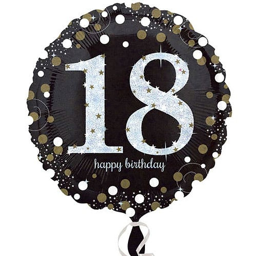 "Black Silver Gold Sparkling 18th Happy Birthday 18"" Foil Helium Balloon"