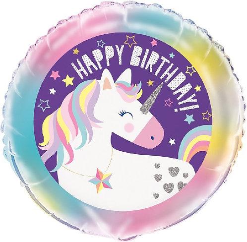 "Happy Birthday magical unicorn themed 18"" Foil Helium Balloon"